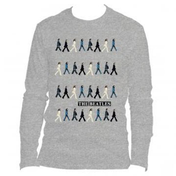 Picture of Beatles Adult T-Shirt: Abbey Road Crossing Repeated (Long Sleeve)